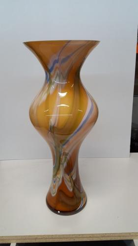 Tall, Round Brown Marble Vase